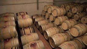 Rows of Oak Barrel In Wine Cellar. 4k UHD stock footage