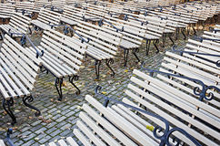 Free Rows Of Benches In The Autumn Park Royalty Free Stock Image - 34536356