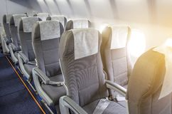 Rows Of Passenger Seats In The Cabin Airplane. Stock Photography