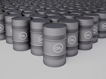 Rows of oil barrels Stock Photos
