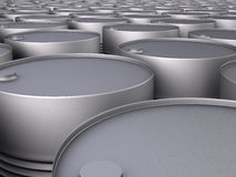 Rows of oil barrels Royalty Free Stock Images