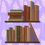 Rows of old books. Two rows of old books. bookshelf, wallpapers. Vector illustration Stock Photos