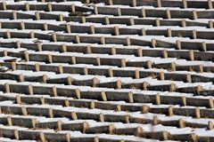 Rows of old concrete seats at abandoned stadium.  Royalty Free Stock Photos
