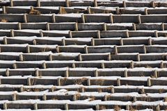 Rows of old concrete seats at abandoned stadium.  stock image