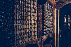Rows of old vintage wine bottles on shelves in special cellar. Close up royalty free stock image