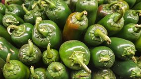 Pile of green hot Jalapeno peppers royalty free stock photo