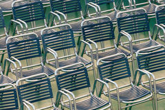 Rows of outdoor steel chairs Stock Photos