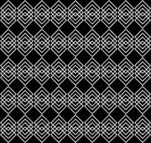 Rows of overlapping gray squares on black background. Elegant geometric seamless pattern. Vector royalty free illustration