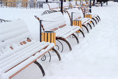 Rows of park benches, covered with snow in public garden Royalty Free Stock Image