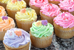 Rows of Pastel Cupcakes Royalty Free Stock Photos