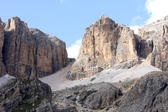 Rows of people, Pass Pordoi in Italian Dolomites Royalty Free Stock Photos