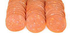 Rows of pepperoni Royalty Free Stock Image