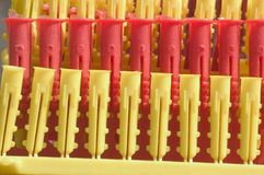 Rows of plastic plugs. Rows of red and yellow plastic decorating plugs Stock Images
