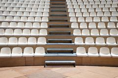 Rows of plastic seats Royalty Free Stock Images