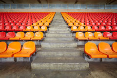 Rows of plastic sits at stadium Royalty Free Stock Photos