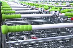 Rows of a plurality of shopping trolleys Stock Images