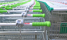 Rows of a plurality of trolleys Royalty Free Stock Photography
