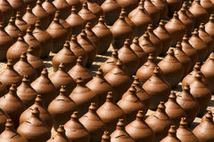 Rows of pots drying in sun Royalty Free Stock Image