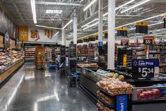 Rows with products in Walmart. Walmart Inc. is an American multinational retail corporation stock photo