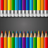 Rows of rainbow colored pencils with erasers and. Realistic shadows on dark grey gradient background. RGB EPS 10 vector illustration Royalty Free Stock Photos