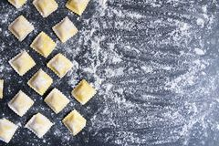 Rows of raw homemade ravioli on a dark background royalty free stock photo