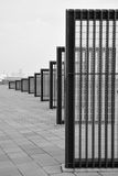 Rows of rectangular grille in descending height. Rectangular shaped outdoor architectural arts pieces in descending height order Royalty Free Stock Image