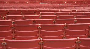 Rows of Red Auditorium Seats. Rows of red auditorium, ballpark, or outdoor amphitheater seats Royalty Free Stock Image