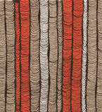 Rows of red and brown hand drawn vertical folds Stock Photo