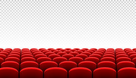 Rows of red cinema movie theater seats. On transparent background Royalty Free Stock Images