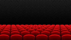 Rows of red cinema movie theater seats. On transparent background Stock Photos