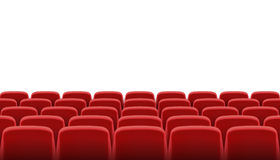 Rows of red cinema or theater seats. A Rows of red cinema or theater seats Stock Photo