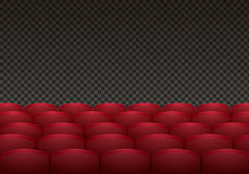 Rows of red cinema or theater seats  on background. Realistic vector illustration Stock Image