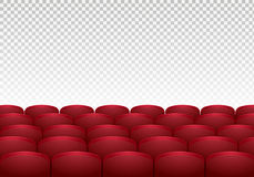 Rows of red cinema or theater seats  on background. Realistic vector illustration Royalty Free Stock Images