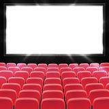 Rows of red cinema or theater seats in front of black blank screen. Wide empty movie theater auditorium with red seats. Vector royalty free illustration