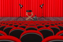 Rows of Red Cinema or Theater Seats in front of Cinema or Theate. R Scene with Red Curtain and Director Chair, Movie Clapper and Spotlights extreme closeup. 3d Stock Images