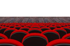 Rows of Red Cinema or Theater Seats in front of Cinema or Theater Scene with Blank Space for Yours Design. 3d Rendering. Rows of Red Cinema or Theater Seats in stock illustration
