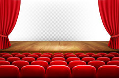 Rows of red cinema or theater seats in front of transparent back. Ground. Vector Royalty Free Stock Images