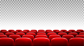 Rows of red cinema or theater seats. In front of transparent background. Vector Stock Photography