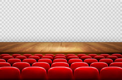 Rows of red cinema or theater seats in front. Of transparent background. Vector Royalty Free Stock Images