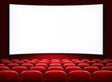 Rows of red cinema or theater seats. In front of white blank screen. Vector Stock Image