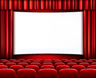 Rows of red cinema or theater seats. In front of white blank screen. Vector Stock Photos