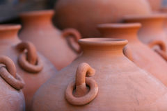 Rows of red clay pottery Royalty Free Stock Photography