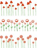 Rows of red flowers. Rows of red flowers isolated on white background. Abstract illustration of three floral banners Royalty Free Stock Photos
