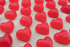 Rows of Red Gummy Hearts at Angle Royalty Free Stock Image