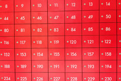 Rows of red  post office boxes. Rows of red  post office boxes with numbers Royalty Free Stock Photos