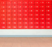 Rows of red  post office boxes. Rows of red  post office boxes with numbers Royalty Free Stock Images