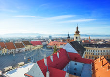 Rows of red roofs near Piata Mare in Sibiu Stock Photography