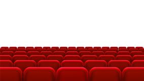 Rows of red seats, back view. Empty seats in the cinema hall, cinema, theater, opera, events, shows. Interior element. Vector realistic 3d illustration Royalty Free Stock Photography
