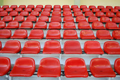 Rows of red seats stadium Stock Photos