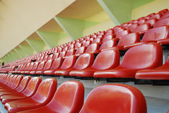 Rows of red seats stadium Royalty Free Stock Images